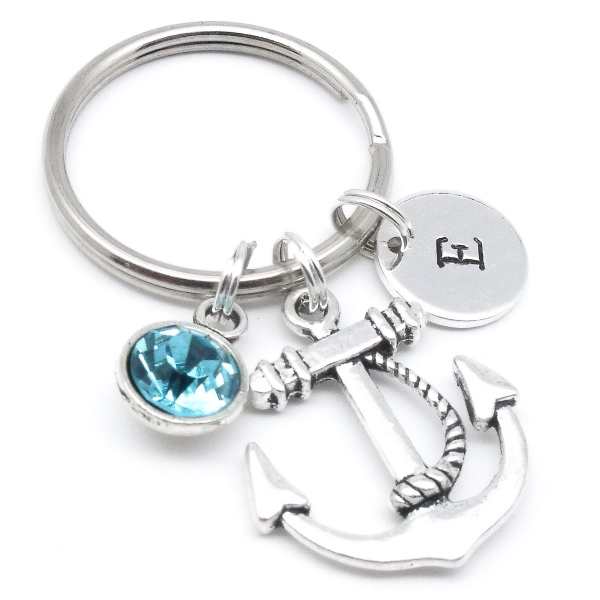 Anchor gift keyring personalised birthstone
